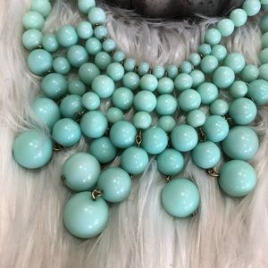 Mint Layered Bubble Statement Bib Necklace Gold